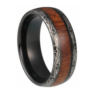 8 mm KOA Inlay & Laser Edges in Black Tungsten Model #1040