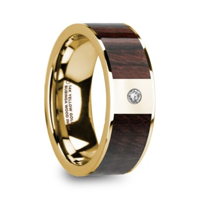 8 mm Bubinga Wood & Diamond Inlay in 14 Kt. Yellow Gold Model #5860