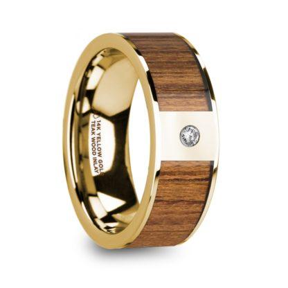 8 mm Teak Wood & Diamond Inlay in 14 Kt. Yellow Gold Model #5880