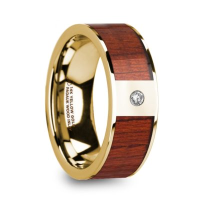 8 mm Padauk Wood & Diamond Inlay in 14 Kt. Yellow Gold Model #5895
