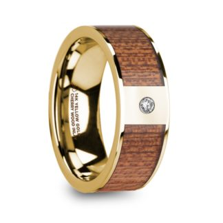8 mm Cherry Wood & Diamond Inlay in 14 Kt. Yellow Gold Model #5905