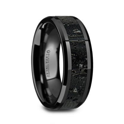 8 mm Black/Gray Lava Rock in Black Ceramic Model #4001