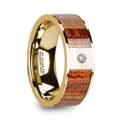 8 mm Mahogany Wood & Diamond Inlay in 14 Kt. Yellow Gold Model #5925