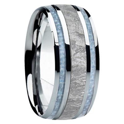 9 mm Meteorite Inlay & Blue Carbon Fiber in Titanium Model #8000