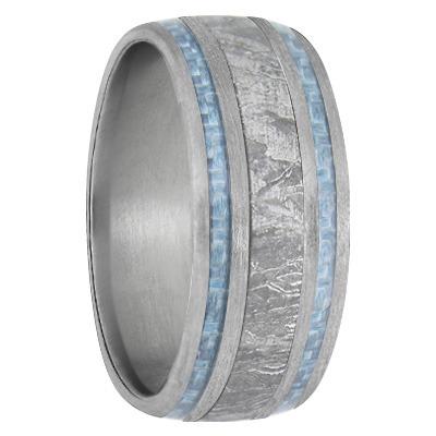9 mm Meteorite Inlay & Blue Carbon Fiber in Titanium Model #8001