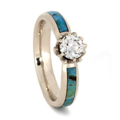 3.5 mm & 8 mm Turquoise Inlay Set with Meteorite in 14 Kt. White Gold Model #3350