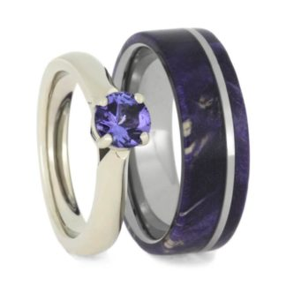 7 mm Purple Box Elder Inlay Set with 10 Kt. White Gold/Tanzanite/Diamonds Model #3330