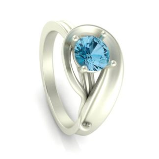 November Birthstone Ring with Blue Topaz in 10 Kt. White Gold Model #3435