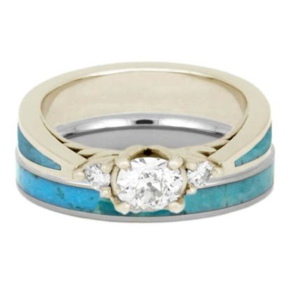 3 mm & 4.5 mm Turquoise Set with 10 Kt. White Gold Model #3335