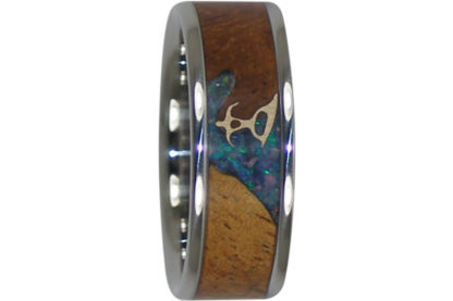 8 mm Surfer Design with KOA/Lightening Opal & 14 Kt. Gold in Titanium Model #7105