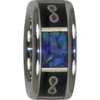9 mm Infinity Design with KOA/Lightening Opal & Sterling Silver in Titanium Model #7110