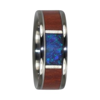 March Birthstone Ring with Aquamarine Opal and Bloodwood in Titanium Model #7125