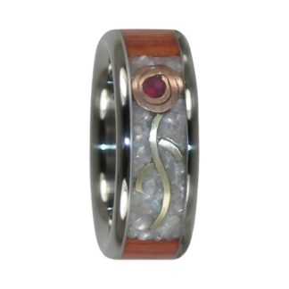 July Birthstone Ring with Ruby Cabochon and Tulipwood in Titanium Model #7135