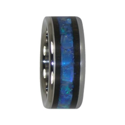 October Birthstone Ring with Opal & Blackwood in Titanium Model #7001