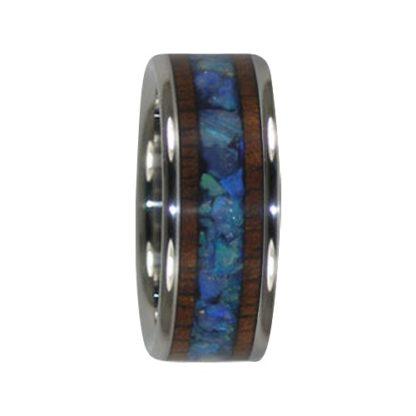 October Birthstone Ring with Australian Opal & KOA Wood in Titanium Model #7005