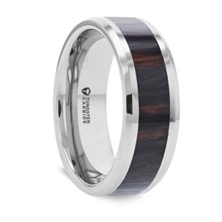 8 mm Mahogany Obsidian Wood Inlay Beveled Edges in Tungsten Model #5155