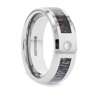 8 mm Diamond & Antler Inlay in Tungsten Carbide Model #4025