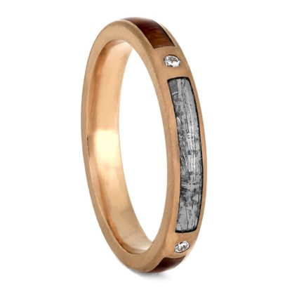 3 mm & 6 mm Tulipwood Inlay Set with Meteorite in 14 Kt. Rose Gold Model #3345