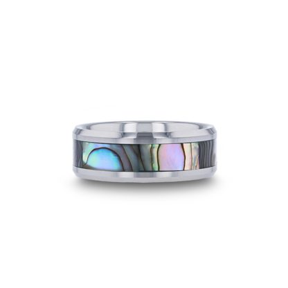 8 mm Mother of Pearl Beveled Edges in Tungsten Model #4020