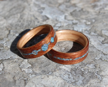 8 mm & 7 mm Bentwood Ring SET with Red Oak/Mahogany & Turquoise/Malachite/Coral/Amethyst Model #9104S