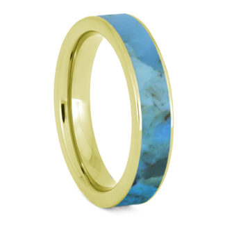 5 mm Solid Turquoise with 14 Kt. Yellow Gold Model #3320