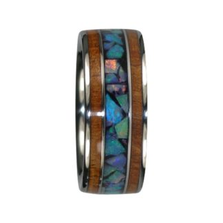 October Birthstone Ring with Blue Opal and KOA Wood in Titanium Model #7045