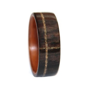 8 mm Bentwood Ring with Blackwood/Birch Sleeve & Sand Inlay Model #9101
