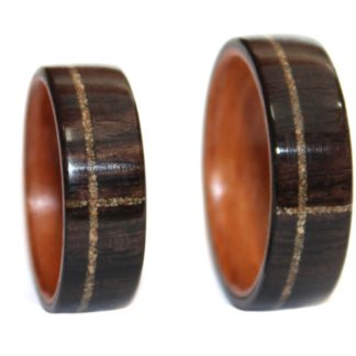 8 mm Bentwood Ring SET with Blackwood/Birch Sleeve & Sand Inlay Model #9101S