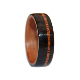 7 mm Bentwood Ring with African Mahogany/Ebony Outer & Birch Sleeve Model #9102