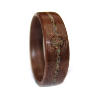 6 mm Bentwood Ring with Black Walnut Inlay & Crushed Opal Model #9103B