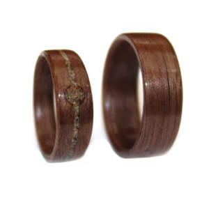 8 mm & 6 mm Bentwood Ring SET with Black Walnut and Crushed Opal Model #9103S
