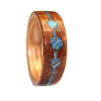 February Birthstone Ring with Red Oak Sleeve/Mahogany & Turquoise/Malachite/Coral/Amethyst Model #9104B