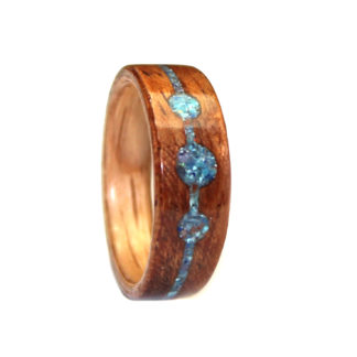 7 mm Bentwood Ring with Red Oak Sleeve/Mahogany & Turquoise/Malachite/Coral/Amethyst Inlay Model #9104B