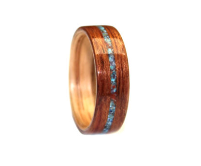 8 mm Bentwood Ring with Red Oak Sleeve/Mahogany & Turquoise/Malachite/Coral/Amethyst Inlay Model #9104A