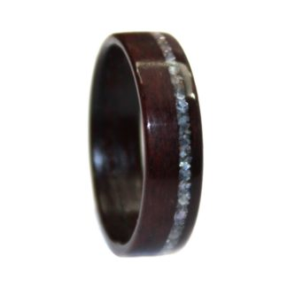 7 mm Bentwood Ring with Rosewood & Crushed Mother of Pearl Inlay Model #9105