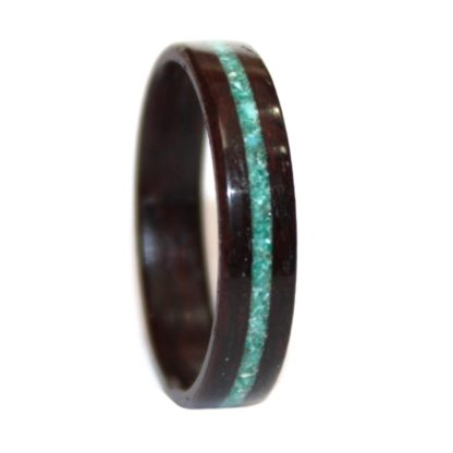 December Birthstone Ring with Rosewood & Crushed Turquoise & Malachite Inlay Model #9106