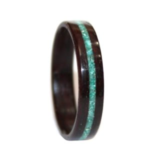 6 mm Bentwood Ring with Rosewood & Crushed Turquoise & Malachite Inlay Model #9106