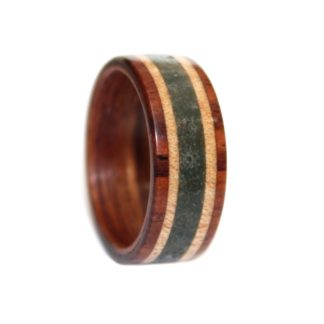 9 mm Bentwood Ring with Rosewood Sleeve & Sugar Maple & Crushed Agate Inlay Model #9107