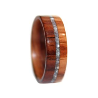 8 mm Bentwood Ring with Dual Rosewood Inlays, Birch Sleeve & Crushed Pearl Inlay Model #9108