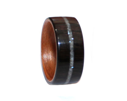 9 mm Bentwood Ring with Birch Sleeve & Ebony Outer with Pearl Model #9109B