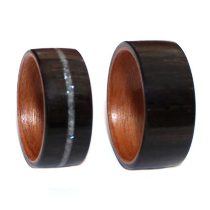 10 mm & 9 mm Bentwood Ring SET with Ebony/Birch Sleeve & Pearl Inlay Model #9109S