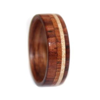 8 mm Bentwood Ring with Four Wood Inlays featuring Rosewood, Mahogany & Maple Model #9110