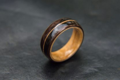 8 mm Bentwood Ring with Maple Birds Eye Sleeve and Ebony Outer with Guitar String Inlay Model #9304