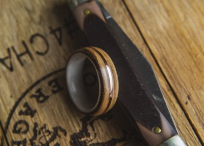 8 mm Bentwood Ring with Antler Sleeve and Whiskey Barrel Outer with Copper Inlay Model #9306