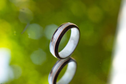 8 mm Bentwood Ring with Antler Sleeve and Gray Birds Eye/Antler with 2 Copper Inlays Model #9307