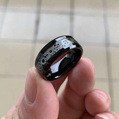 8 mm Black Tungsten with Gear Design Model #1050