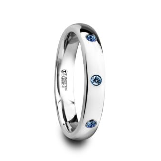 September Birthstone Ring with Blue Sapphires, Polished/Domed in Tungsten Model #6070