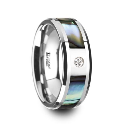 June Birthstone Ring with Diamond & Mother of Pearl in Tungsten Model #6040