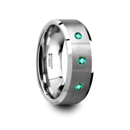 May Birthstone Ring with Emeralds in Tungsten Carbide Model #6000