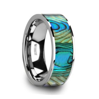June Birthstone Ring with Mother of Pearl in Tungsten Model #6005